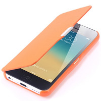 Full Protection Cover Ultra Thin Magnetic Button Flip Leather Case For iPhone 5c Candy Coor
