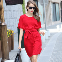 Red Twin Pocket and Waist Tie Casual Dress