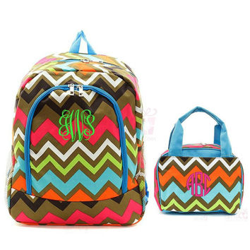 "Personalized Chevron Backpack Matching Lunch Box Bag Set Aqua Brown Pink 17"" School Tote Insulated Lunchbox Embroidered Monogram Lunchbag"