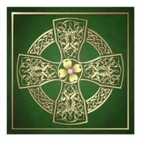 Gold Shamrock Celtic Cross St Patrick's Day Invitations from TheInspiredEdge.com