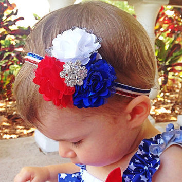 Red, White and Blue Baby Girl Headband, Patriotic Headband - 4th of July Headband - 3 Flower Headband on Glitter Elastic