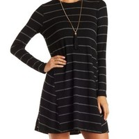 Black Combo Striped Trapeze Shift Dress by Charlotte Russe