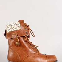 Bamboo Surprise-01N Crochet Cuff Military Lace Up Boot