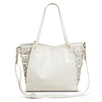 Women's Perforated Flower Pattern Tote Handbag - Ivory