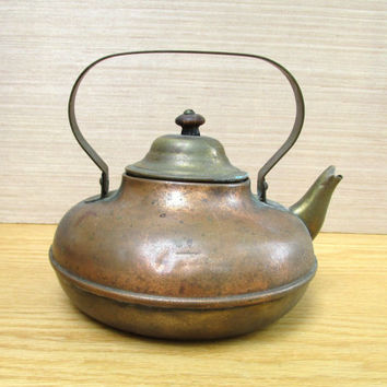 Vintage Copper and Brass Tea Kettle, Rustic Kitchen Decor, Primitive Country Kitchen, Old Western Prop, Copper Teapot, Kitchen Photo Prop