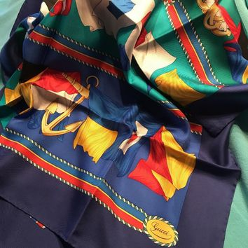 VINTAGE GUCCI SCARF SILK RICH BLUES GOLD ROPE BORDERS ANCHORS FLAGS NAUTICAL