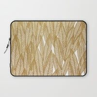 Gold & White Leaves Laptop Sleeve by Sandra Arduini