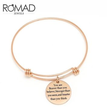 Stainless Steel Bangles Engrave Adjustable Letter Bracelet For Women indian Rose Gold Love Bangle jonc Best Friend Jewelry Z45