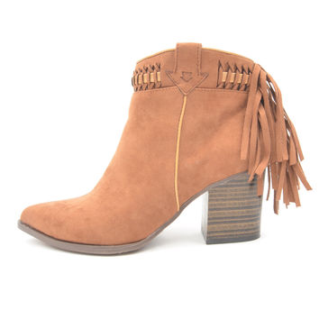 Chestnut Southwestern Style Booties with Fringe Detail