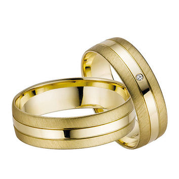 Yellow gold Wedding rings bridal Sets