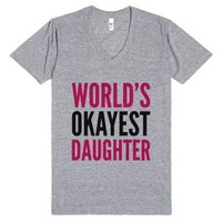 World's Okayest Daughter V-neck T-shirt Pink Black