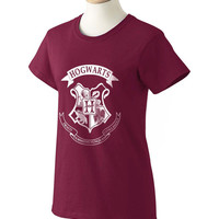 Hogwarts Crest on Maroon Women tee printed use white ink