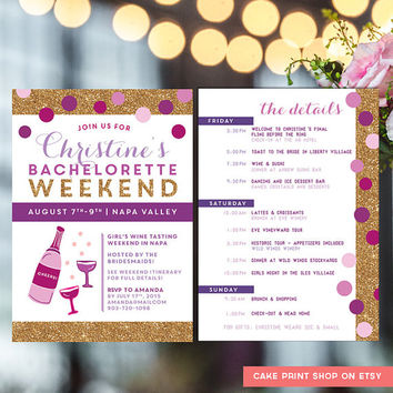 Bachelorette Itinerary, Bachelorette invite with itinerary, wine tasting bachelorette invite, hens weekend invitation, gold glitter, digital