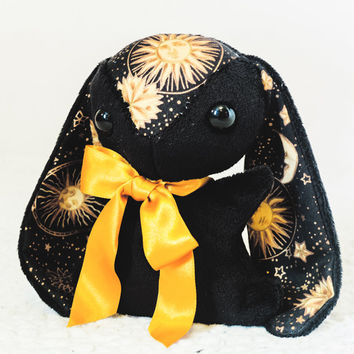 Black Rabbit Plush - Celestial Sun and Moon Plushie Bunny - Aurora - Handmade Easter Gift
