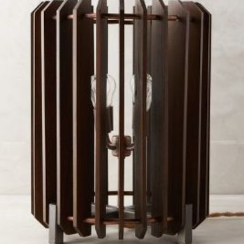 Slatted Woodchime Table Lamp by Anthropologie in Brown Size: One Size Lighting
