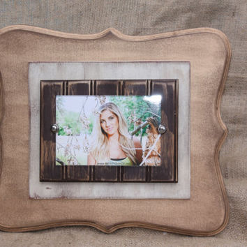 Handmade distressed picture frame for 4x6 photo; Gold/off white/brown; Wall decor
