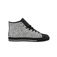 Black and white swirls zentangle Aquila High Top Action Leather Women's Shoes (Model 027) | ID: D395127