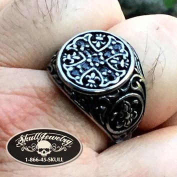 """Apostles' Cross"" Ring w/BLACK Zircon Gemstones (550)"