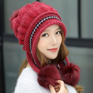 Women Winter Hats Pompom Fashion Berets Female Gorros Fur Hats Knitted Beanies Thicker Hat with Flaps Cap Scarf Earflap