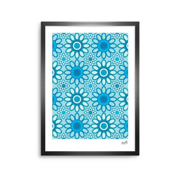 "julia grifol ""Aqua Flowers Tile"" Blue Floral Pattern Vector Digital Framed Art Print"