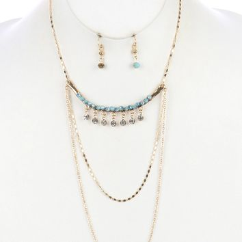 Crystal Stone Fringe Three Layer Chain Arched  Bar Hammered Glass Bead Necklace Earring Set
