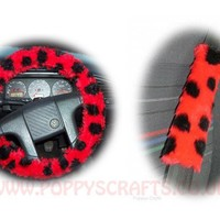 Ladybird Spot fuzzy Car Steering wheel cover & matching faux fur seatbelt pad set