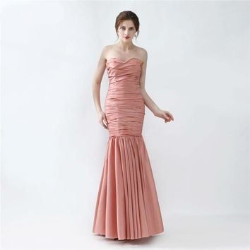 Long Mermaid Evening Dress New Design Peach Brown Taffeta Formal Evening Gown Women Prom Dresses