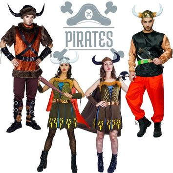 New Arrival Adult Viking Pirate Costume  Cosplay Party Imitation Halloween Deluxe Pirate for Women Pirate dress for Adult Men