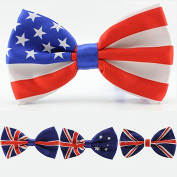 Retail The American flag tie stripe bow tie man's women's butterfly tie for male