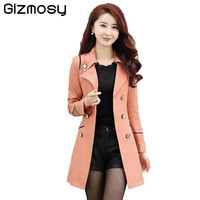 Spring Trench Coat For Women 2017 Fashion Turn-down Collar Double Breasted Candy Color Long Autumn Coats Plus Size SY034-1