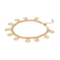 River Island Womens Gold tone coin repeater anklet