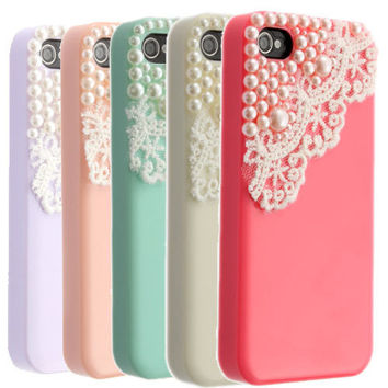 Cute Pearl Lace ice Cream Hard Back Case Cover /Screen Protector For iPhone 4 4S