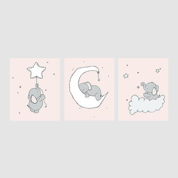Pink & Gray Elephant Moon & Stars Print Set