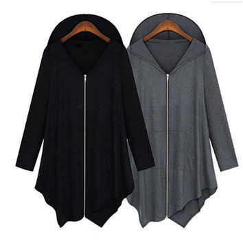 Fashion Autumn Spring Women Irregular Zipper Long Sleeve Hooded Jacket Loose Cape Outwear Poncho Coat JL
