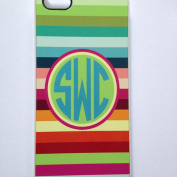 Preppy Monogrammed Striped iPhone Case.  Birthday present or Bridesmaid Favors too! I phone 4 or 5!
