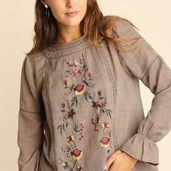 Boho Mocha Floral Embroidered Top