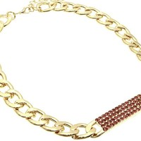 Monnica Pink Stone Cuban Link Chain