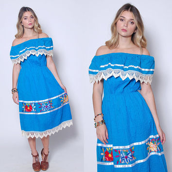 Vintage 70s MEXICAN Embroidered Dress Aqua Blue Mexican WEDDING DRESS Off The Shoulder Ethnic Sun Dress Hippie Dress