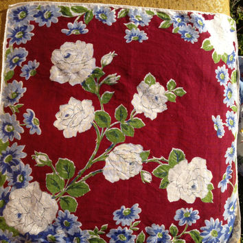 Vintage Hankie, maroon background white roses and blue daisies