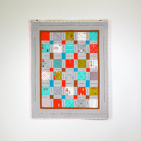 Gray Baby Quilt, Modern Baby Quilt, Red & Gray Baby Bedding, Baby Quilt