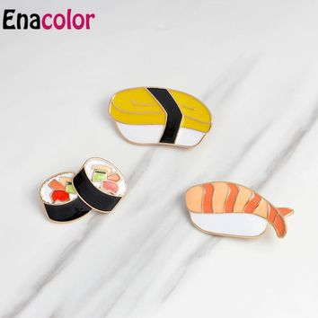 Enacolor 3Pcs/Set Japan Harajuku Tuna Sushi Box Lunch Enamel Brooch Acrylic Cute Food Collar Badges Corsage Women Kids Gift
