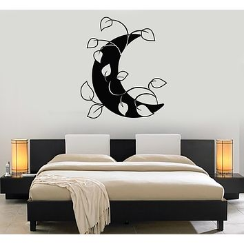Vinyl Wall Decal Crescent Moon Leaves Nature Bedroom Home Decor Stickers Mural (g319)