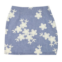 Flower Embroidered Checkered Mini Skirt
