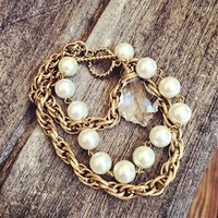 Double Gold Chain Pearl Bracelet