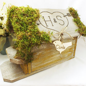 Birdhouse Card Box - Wedding Gift Card Holder With Personalization, Unique Bird Card Sign And Moss Top - Rustic, Burlap, Barn Wedding Decor