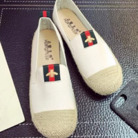 GUCCI New fashion flat women red and green stripe bee shoes casual shoes straw shoes White