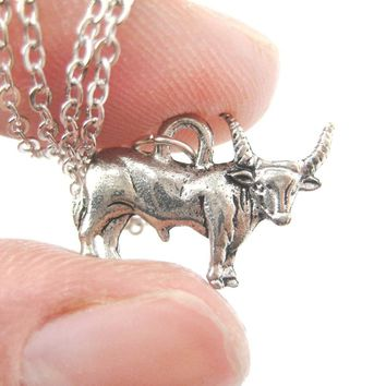 Realistic Buffalo Bison Cow Bull Shaped Animal Charm Necklace in Silver | MADE IN USA