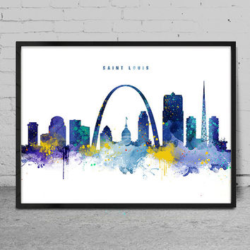 Saint Louis Skyline, Saint Louis Missouri Cityscape Art Print, Watercolor Painting, Wall Art, Cityscape, City Wall art, Artwork, Art -x146