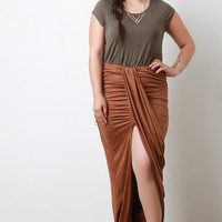 Draped Front Suede Maxi Skirt