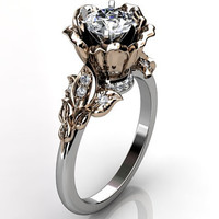 14k two tone white and rose gold diamond unusual unique flower engagement ring, bridal ring, wedding ring ER-1080-5